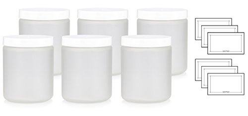 Large Clear Frosted Glass Straight Sided Jar with White Lids - 8 oz / 240 ml (6 pack) + Labels