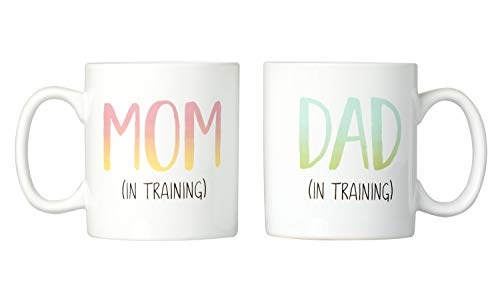 Kate & Milo Mom and Dad in Training Mug Gift Set, Ombre Design, New Parents Gifts, The Perfect Baby Shower Gift for Expecting Parents -