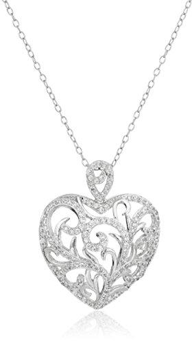Sterling Silver Cubic Zirconia Freeform Heart Pendant Necklace, (Freeform Heart Necklace)