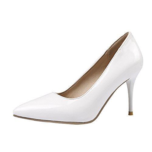 SexyPrey Women's Pointed Toe Pure Color 8cm Stiletto Heels Dress Party Bridal Court Shoes White MfrwOMCcfC