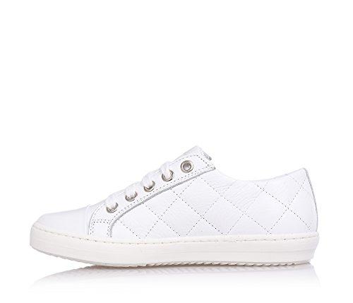 MISS GRANT - Weißer Schuh mit Schnürsenkeln, aus Leder, eleganter und sehr faszinierender Stil, seitlich ein Reißverschluss, sichtbare Nähte, auf der Zunge ein Logo, Mädchen, Damen