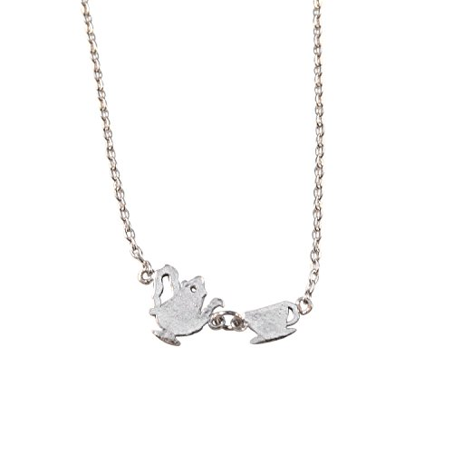 Womens Tea Party Necklace Tea Pot and Kettle Pendant Necklace Simple Charm 17 in chain (Silver)