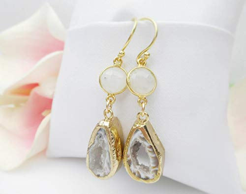 Gold Vermeil Moonstone And Geode Dangle Earrings Moonstone Druzy Earrings Long Boho Geode Earrings OOAK Geode Earrings