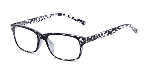 Readers.com Reading Glasses: The Williamsburg Bifocal Reader, Plastic Retro Square Style for Men and Women - Black Tortoise, 2.00 (Sonnenbrille Reader)