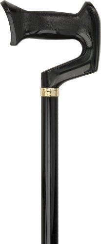 Black Adjustable Orthopedic Handle Walking Cane with Collar