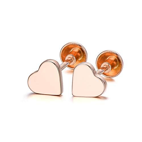 18K Rose Gold Heart Stud Earring Simple Heart Shape Stud Earrings Solid Love Heart Earrings for Women Girls (Rose -