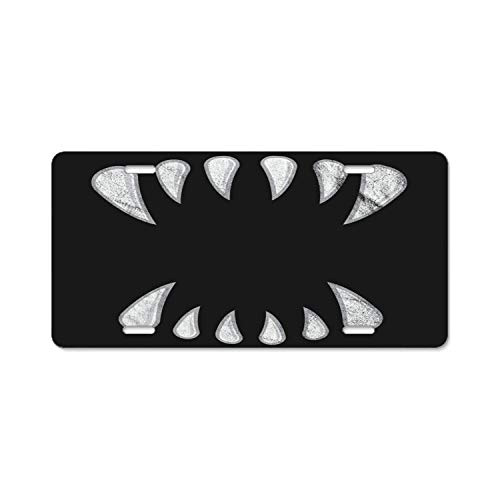YEX Abstract Metal License Plate Halloween Fangs High Gloss Aluminum Novelty Car Licence Plate Covers Auto Tag Holder 12