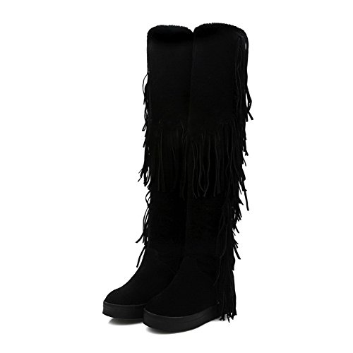 AgooLar Women's Pull-on Round Closed Toe Kitten-Heels Imitated Suede High-top Boots Black uAQ0rR