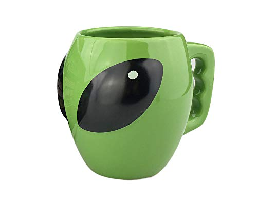 VanEnjoy Cool Bright Green Glazed Ceramic Shape Coffee Ceramic Tea Cup Mug, 3D Mysterious UFO Conspicuous Alien Shape, 13 oz(400 ml)