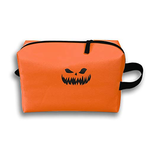 Painting Halloween Orange Minimalist Travel Cosmetic Bag Portable Makeup Pouch Pencil Holders