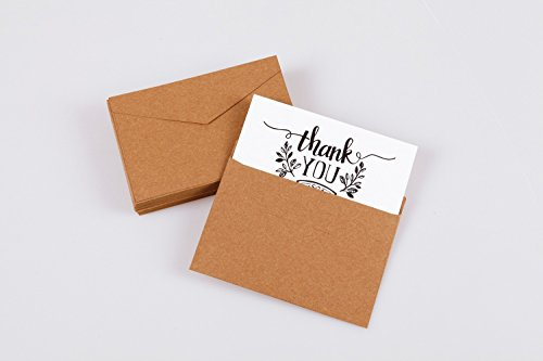 Thank You Note Cards Postcards with Funny Decor Stickers Set - 48 Assorted Bulk Pack Handwritten Greeting Cards - Blank Backside - For Wedding, Baby Shower -Brown Craft Paper Envelopes - 4 x 6 inches Photo #2