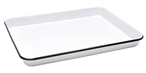 CGS International Enamelware Jelly Roll Tray - Solid White with Black Rim price tips cheap