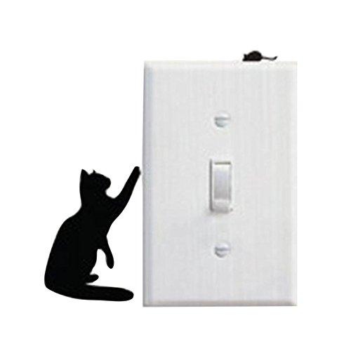 Franterd Wall Stickers, Cat, Light Switch Decor Decals, Art Mural Baby Nursery Room