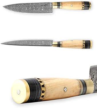 Perkin Knives – Custom Handmade Damascus Hunting Knife – Beautiful Kitchen Camping Knife