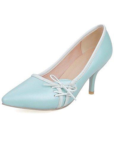 GGX/Damen Schuhe PU Sommer/Herbst Heels/spitz Toe Heels Büro & Karriere/Casual Trichterabsatz Schleife Schwarz/Blau/Pink/Beige black-us7.5 / eu38 / uk5.5 / cn38