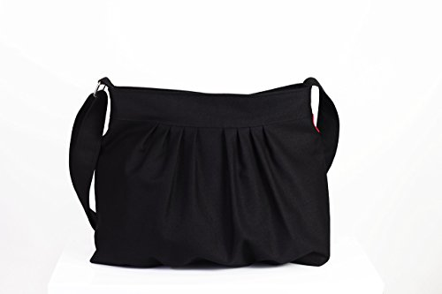 Black Color Canvas Bag Purse Pleated Bag Washable & Durable For Women Gift Daily Use Crossbody Tote Handbag Bags Gift idea Choose Your Color - Pleated Handbag Purse