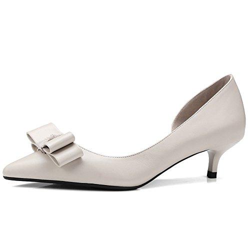 0ff3e0b7a3b Nine Seven Cuero Moda Puntiagudos Zapatos de Tacón de Aguja con Lazo para  Mujer Beige