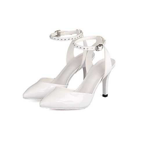 AmoonyFashion Womens High-Heels Patent Leather Solid Buckle Pointed-Toe Sandals White DUfWDxU