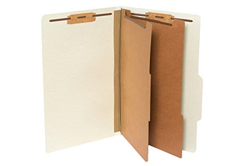 (10 Legal Size Classification Folders- 2 Divider-2'' Tyvek expansions- Durable 2 Prongs designed to organize standard law client files, office reports– LEGAL SIZE, 10 Folders (Gray))