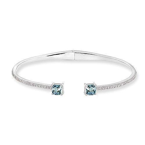 Sterling Silver Blue Topaz & Created White Sapphire Cushion-Cut Dainty Cuff Bangle -