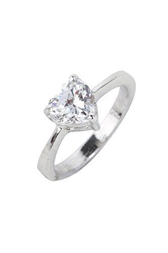 Dilan Jewels LOVE Collection 925 Sterling Silver 1 carat Heart Solitaire Swarovki Engagement Ring For Women (Swarovski Crystal Solitaire Heart)