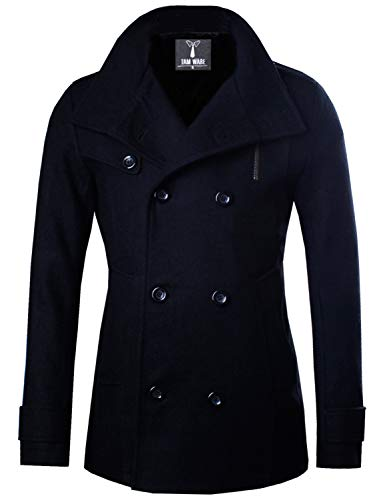 TAM WARE Mens Classic Wool Double Breasted Pea Coat TWCC06-08-BLACK-US M