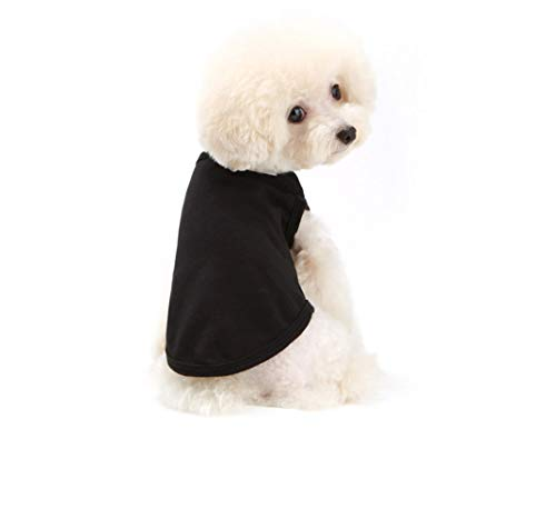 Image of Chol & Vivi Dog Shirts Clothes, Dog Clothes T Shirt Vest Soft and Thin, 2pcs Blank Shirts Clothes Fit for Extra Small Medium Large Extra Large Size Dog Puppy, Medium Size, Black and White