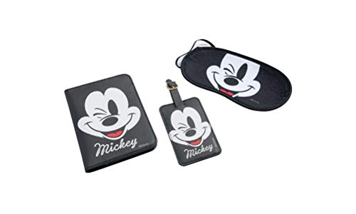 Disney Mickey Mouse Travel Set Blindfold Passport Cover & Name ID Tag for Suitcase
