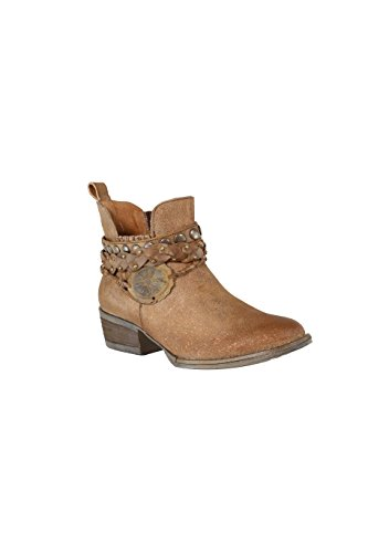 Corral Women's Brown Harness & Stud Details Round Toe Leather Western Ankle Cowboy Boots - 7.5 (Studded Harness Cowgirl Boots)