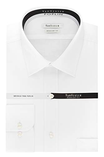 Van Heusen Men's Regular Fit Poplin Solid Spread Collar, White, 17