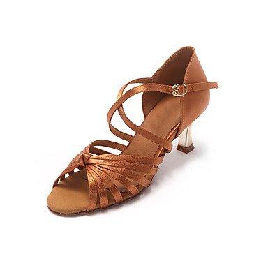 XIAMUO Nicht anpassbar - Die Frauen tanzen Schuhe Leder Leder Latin Heels Stiletto Heel Anfänger/Professional Schwarz/Gold, Sekt, US 8 / EU 39/UK6/CN 39