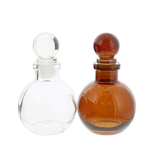 - The Bridge Collection Apothecary Style Rounded Glass Bottle Set with Glass Stopper - Set of 2 in Clear & Amber