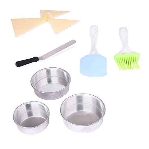 3 in 1 Aluminium Round Cake Mould,Cake tin,Cake pan,Round for Baking Special quality) 1 Trangle Scraper 1 Knife 1 Set spatulla