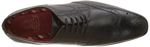 Uomo London Crown Waxy Stringate Noir Scarpe Derby Base Black CZ4qxwwX