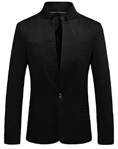 CBTLVSN Men's Slim Blazer Mandarin Collar Solid One Button Welt Jacket Black XS