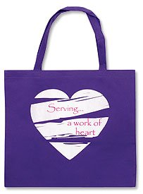 Womens 14 1/2″ Serving a Work of Heart Purple Bag White Heart Design Purse Tote Teens Book Bag, Bags Central