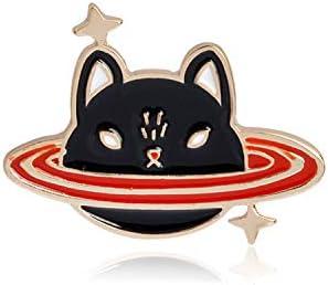 宇宙旅行コレクションエナメルキッズ女の子、猫の惑星のためのピン漫画宇宙飛行士プラネットスターブローチラペルピンカスタムバッジギフ