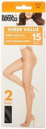 Razzamatazz Women's Pantyhose 15 Denier Light Slimming Sheers (2 Pack), Black, X-Tall