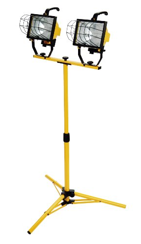 Work Light, Adjustable Tripod Up To 42 Inches Tall, 16,000 Lumen, 4-Foot 18/3 Cord, Cord Storage Bracket, Weather Proof Power Switch Per Lamp For Individual Control (Includes 2 500-watt Quartz Halogen Bulbs) ()