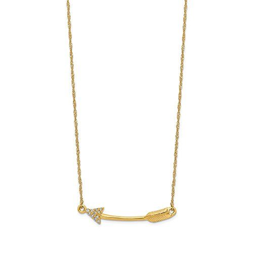 14k Yellow Gold Diamond Arrow Chain Necklace Pendant Charm Fine Jewelry Gifts For Women For Her