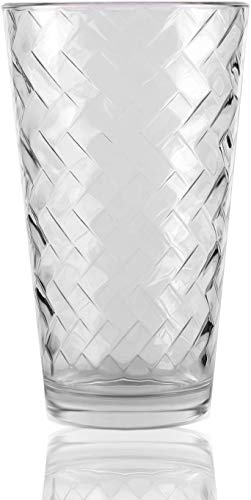 (Circleware 40120 Chevron Set of 4 Heavy Base Highball Drinking Glasses Beverage Tumbler Cups for Water, Juice, Milk, Beer, Ice Tea and Farmhouse Decor, 15.75 oz, 4pc)