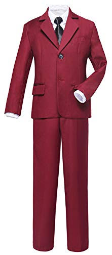 Toddler Ring Bearer - Visaccy Boys Suits Toddler Burgundy Slim Fit Ring Bearer Outfit Size 8