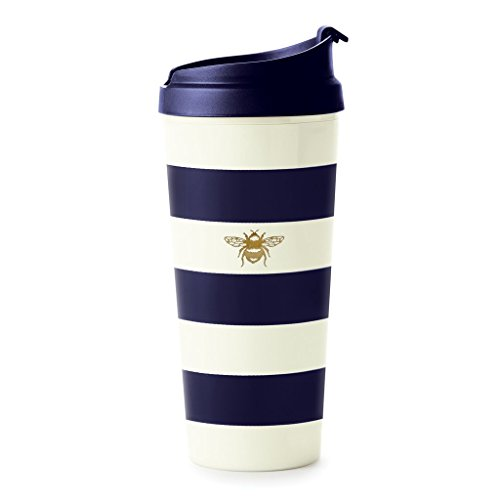 Kate Spade New York Insulated Thermal Travel Mug Tumbler, 16 Ounces, Navy Stripe (Bee) ()