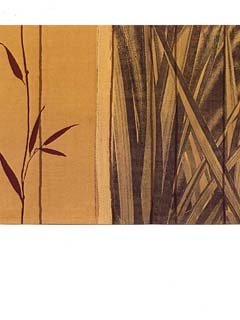 Wallpaper Border Modern Spa Grass Bamboo Rust Orange & Yellow