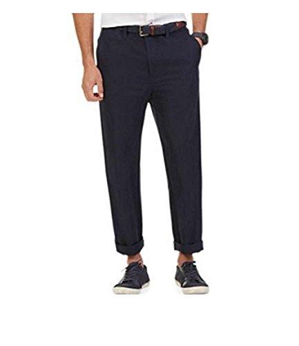 Nautica Flat Front Linen Cotton Pant Classic Fit (36/34, Navy)