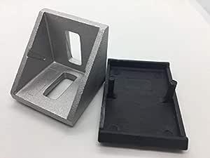 90 Degree 20 series Cast Aluminium Corner Brackets 2020 with plastic Black cover - Pack of 2