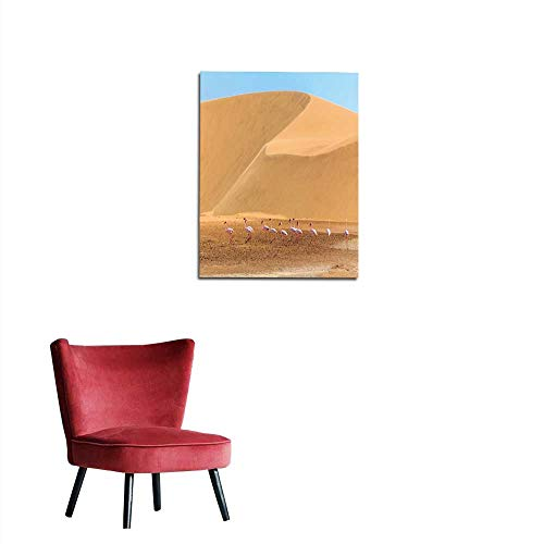 - Wall Picture Decoration Flock of Pink Flamingo Marching Along The Dune in Kalahari Desert Namibia Mural 32