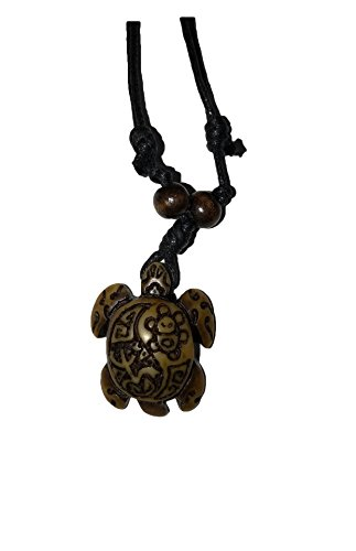 (Dragonfly Turtle with Coqui Taino & Indian Sun, Tibetan Yak Bone Imitation Necklace)