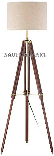 Cherry Finish Wood Surveyor Tripod Floor Lamp by Nauticalmart