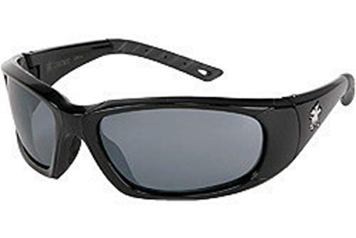 dbfb186bd445 Crews ForceFlex Safety Glasses With Opaque Black Thermo Plastic Urethane  Frame, Blue Diamond Mirror Polycarbonate